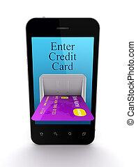 színes, mozgatható, hitel, összekapcsolt, telefon, kártya