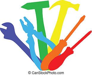 színes, munka, eszközök