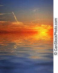 színes, napnyugta, alatt, víz visszaverődés