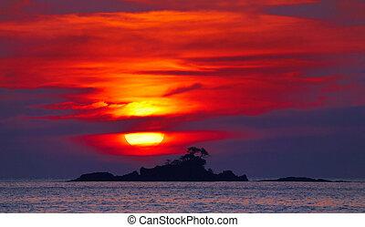 színes, napnyugta, thaiföld
