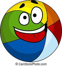 színes, nevető, karikatúra, strandlabda
