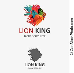 színes, oroszlán, jel