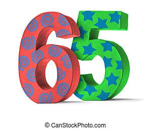 színes, papír mache, szám, képben látható, egy, white háttér, -, szám, 65
