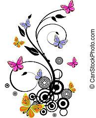színes, pillangók