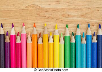 színes, rudacska zsírkréta, oktatás, háttér