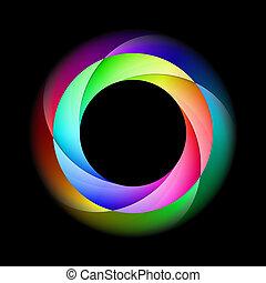 színes, spirál, ring.