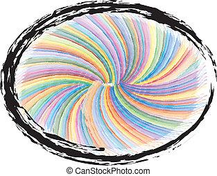 színes, swirly, grunge, háttér