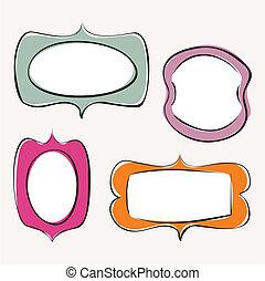 színes, szórakozottan firkálgat, keret, vektor, állhatatos