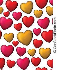 színes, szeret, seamless, háttér, közül, szív, bubbles.