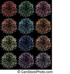 színes, tűzijáték