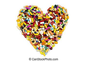 színes, tabletta, alatt, szív alakzat