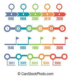 színes, timeline, infographic, állhatatos
