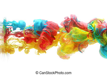 színes, tinta, alatt, víz