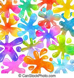 színes, tinta, loccsan, vibráló, splats