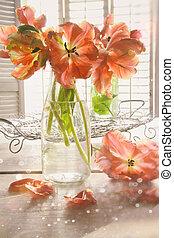 színes, tulipánok, képben látható, asztal