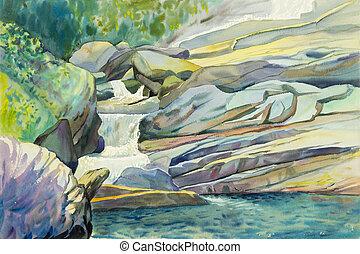 színes, vízfestmény, vízesés, festmény, eredeti, táj