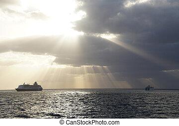 színes, varázslatos, napkelte, felett, the atlantic óceán