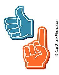 színes, vektor, állhatatos, ujjak, hab