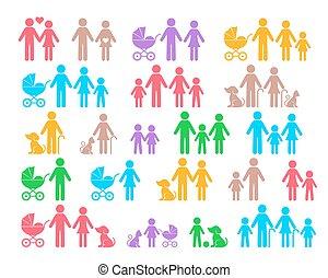 színes, vektor, család, pictograms