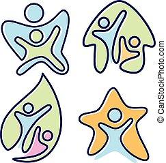 színes, vektor, tervezés, emberek, pictogram, ikon, állhatatos, különböző