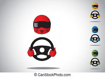 színes, versenyautó, sofőr, sisak