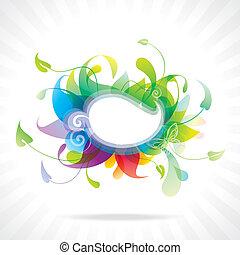 színes, virágos, frame.