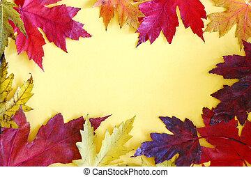 színes, zöld, sárga, ősz, háttér, keret