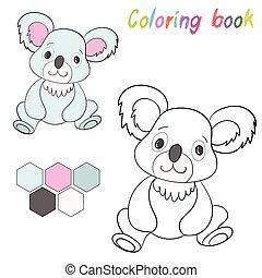 színezés, alaprajz, gyerekek, hord, játék, könyv, koala