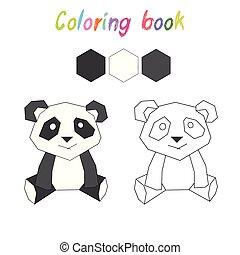 színezés, alaprajz, heccel játék, könyv, panda