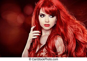 színezés, göndör, felett, hosszú szőr, mód, háttér, hair., portré, leány, ünnep, piros