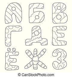 színezés, gyerekek, abc, -, letters., könyv, orosz, karikatúra, gyerekek, design.
