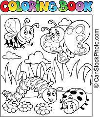 színezés, kép, rovar, téma, 2, könyv