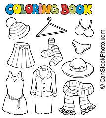 színezés, különféle, könyv, öltözék