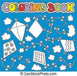 színezés, különféle, könyv, papírsárkány