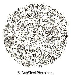 színezés, motívum, fish, képzelet, alakít, könyv, karika