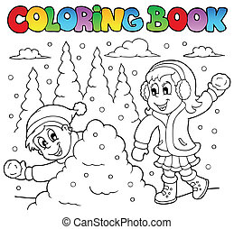 színezés, téma, 2, könyv, tél