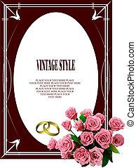 színezett, ábra, invitation., vektor, esküvő, rajzoló