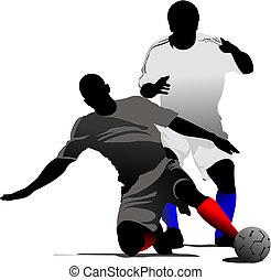 színezett, ábra, rajzoló, futball, vektor, players.