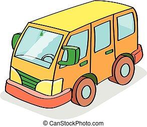 színezett, autóbusz, karikatúra