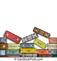színezett, bőrönd