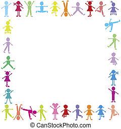 színezett, boldog, gyerekek, keret