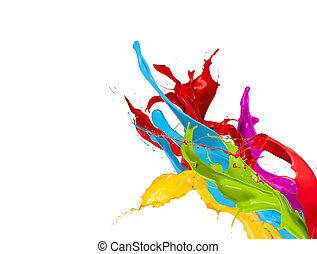 színezett, elszigetelt, festék, loccsan, háttér, fehér