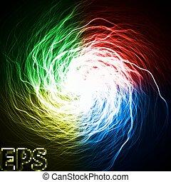 színezett, energia, megvonalaz, varázslatos, alapos, vortex., külső rész., erezet, quad, version., több, középcsatár