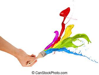 színezett, fest, fröcskölő, elszigetelt, háttér, brush., white out