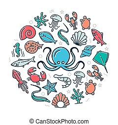 színezett, ikonok, tenger gyümölcsei, ábra, vektor, tervezés, bemutatások, háttér, fehér, concept., karika