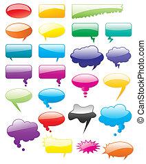 színezett, képregény, shapes., szerkeszt, gyűjtés, összead, vektor, szöveg, könnyen, size., bármilyen
