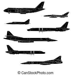 színezett, küzdelem, aircraft., ábra, team., vektor, rajzoló