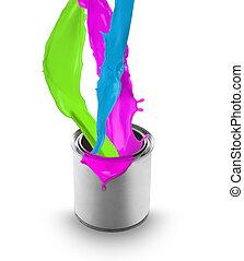 színezett, konzerv, elszigetelt, festék, háttér, fehér, fröcskölő, ki