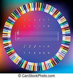színezett, kulcsok, jelkép, zene, karika, zongora
