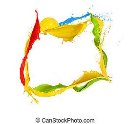 színezett, loccsanás, háttér, elszigetelt, lövés, festék, keret, fehér